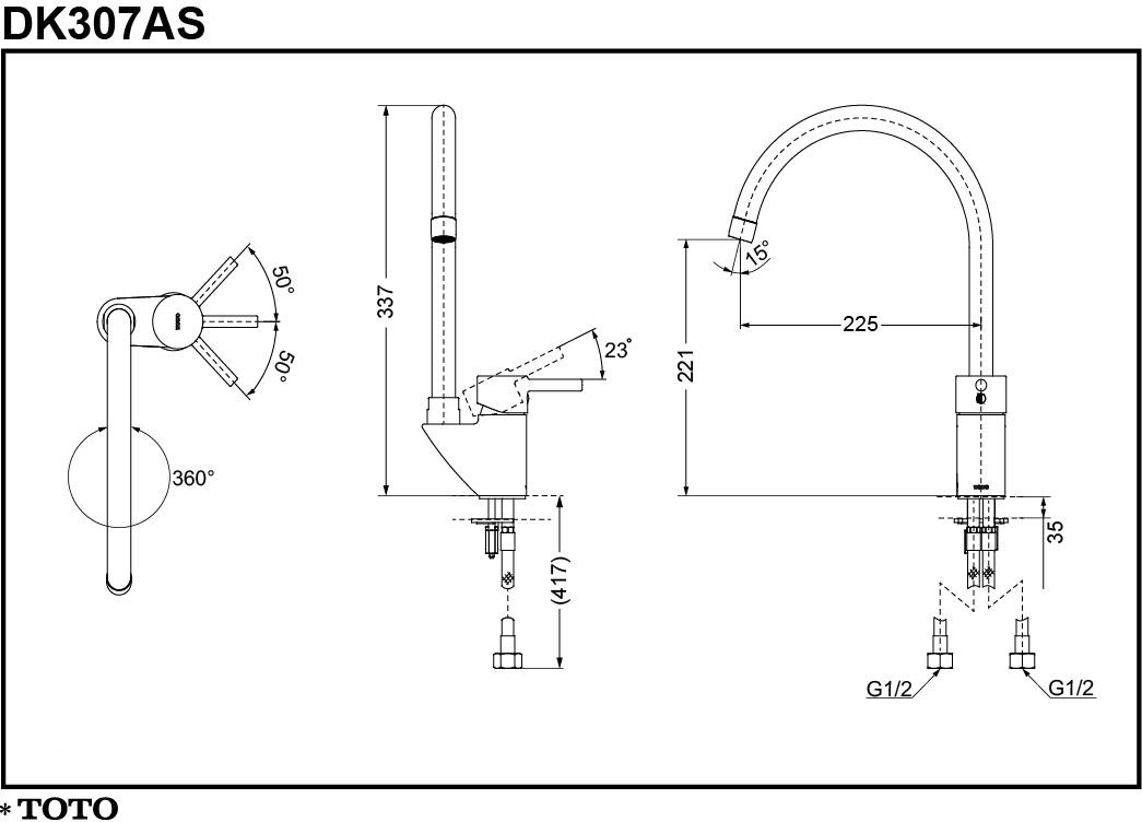 Thông số kĩ thuật vòi bếp TOTO DK307AS