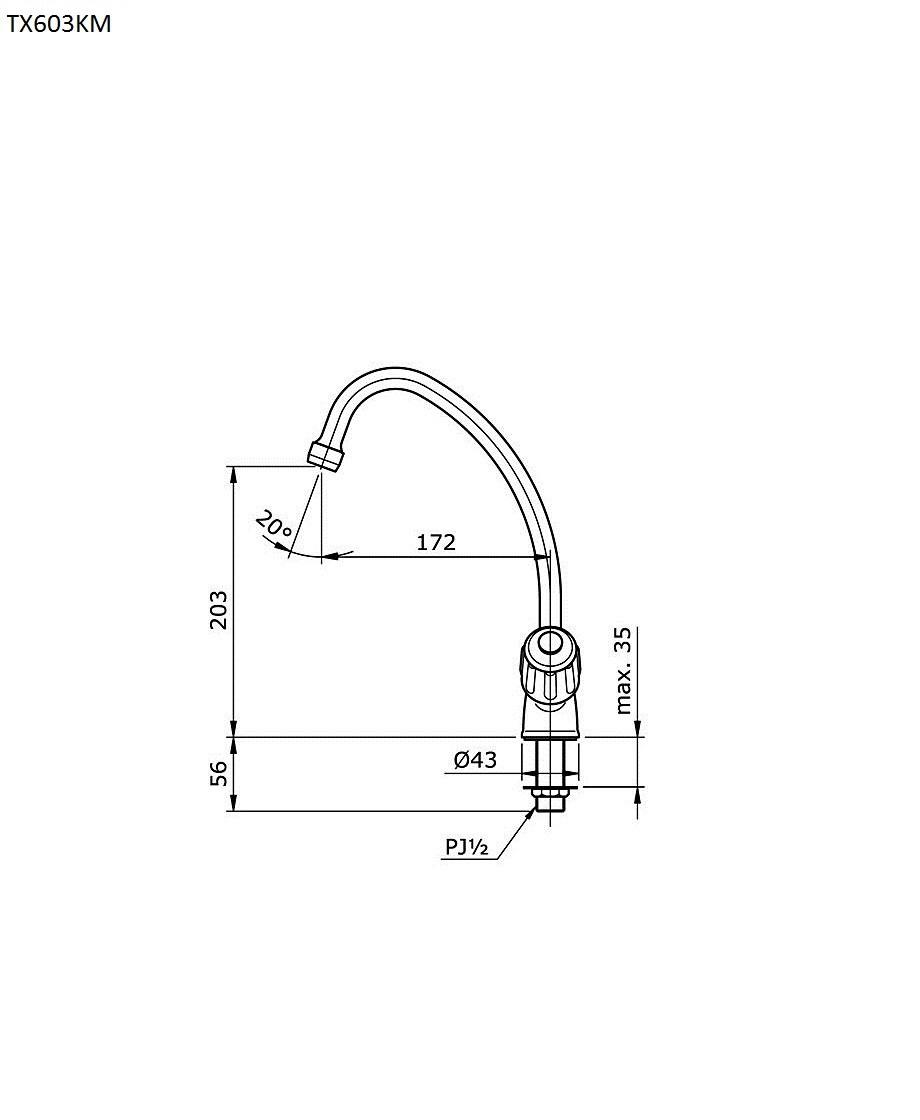 Thông số kĩ thuật vòi bếp TOTO TX603KM