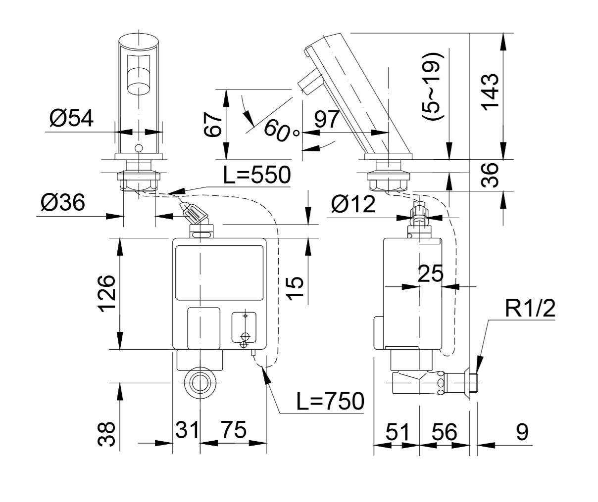 Thông số kĩ thuật vòi cảm ứng INAX AMW-90
