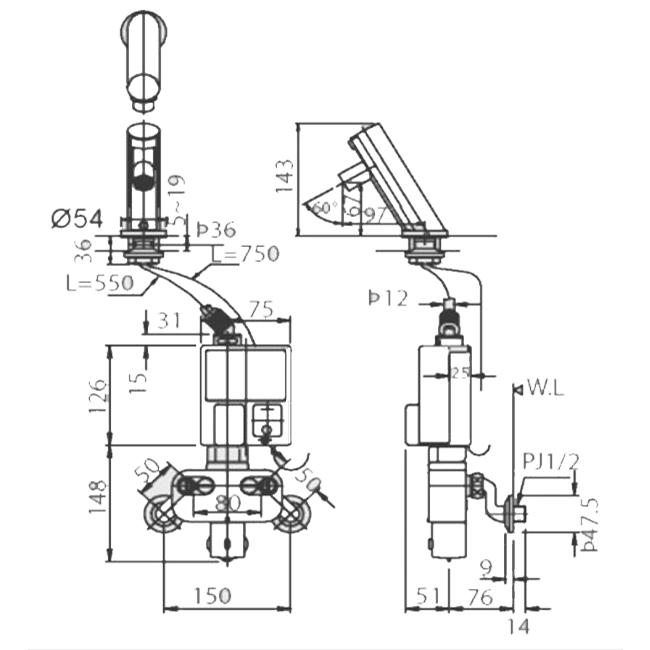 Thông số kĩ thuật vòi chậu cảm ứng lavabo INAX AMW-90K