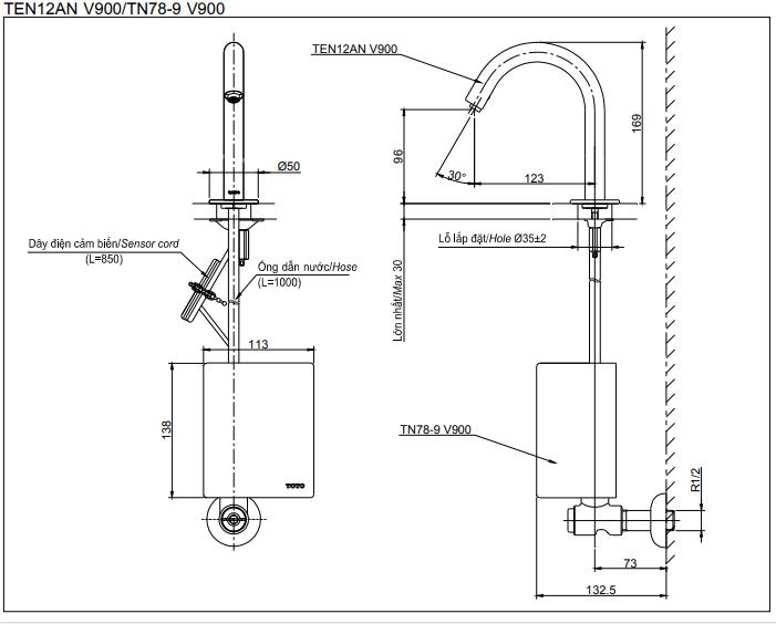 Thông số kĩ thuật vòi cảm ứng TOTO TEN12ANV900/TN78-9V900/TVLF405