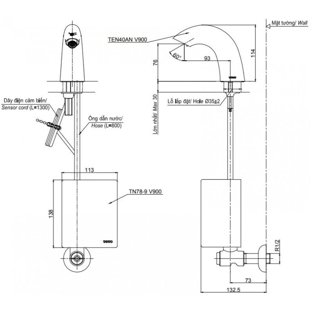 Thông số kĩ thuật vòi cảm ứng TOTO TEN40ANV900