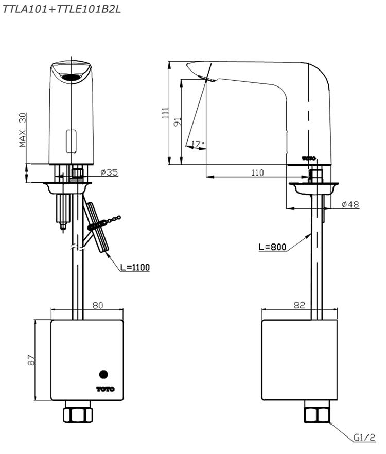 Thông số kĩ thuật vòi cảm ứng TOTO TTLA101/TTLE101B2L/TVLF405