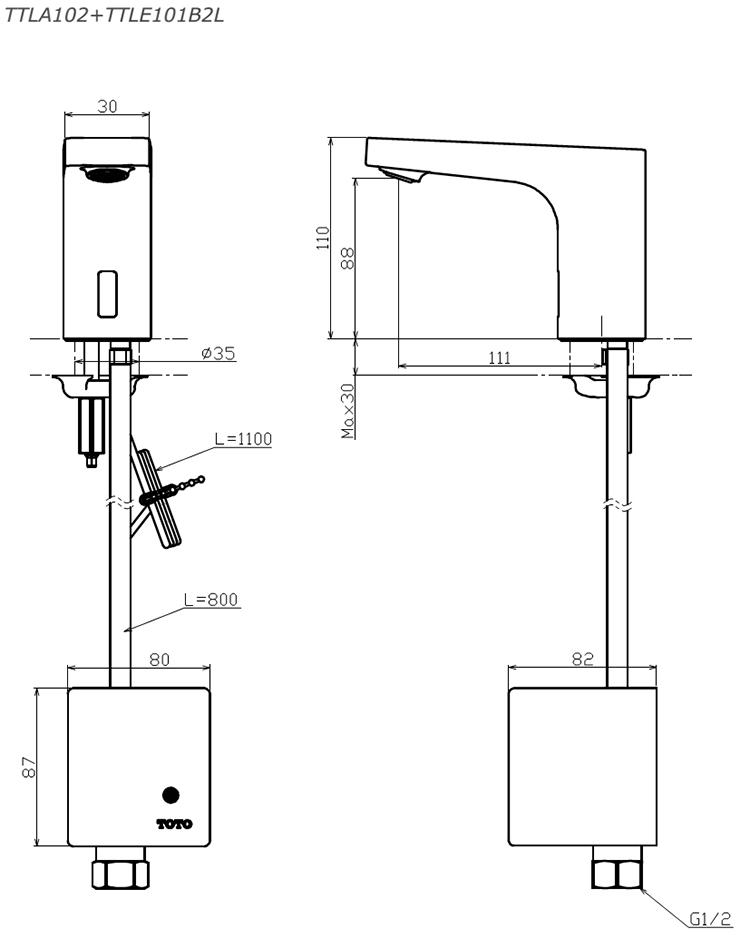 Thông số kĩ thuật vòi cảm ứng TOTO TTLA102 + TTLE101B2L