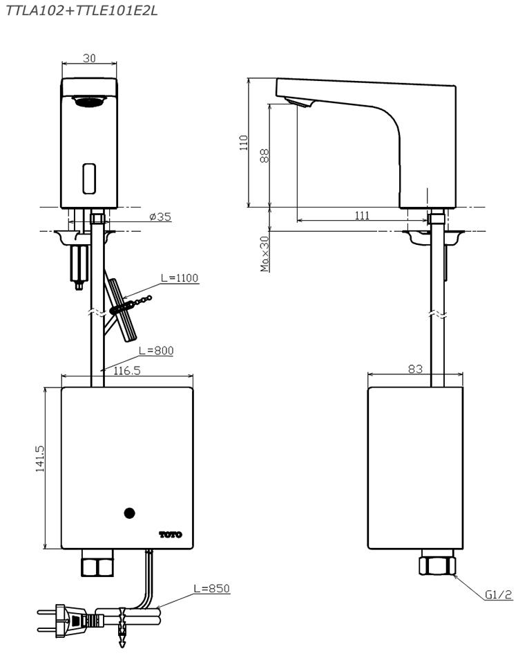 Thông số kĩ thuật vòi cảm ứng TOTO TTLA102/TTLE101E2L/TVLF405