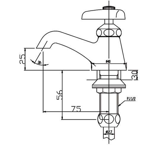 Thông số kĩ thuật Vòi chậu lavabo nước lạnh INAX LF-1P