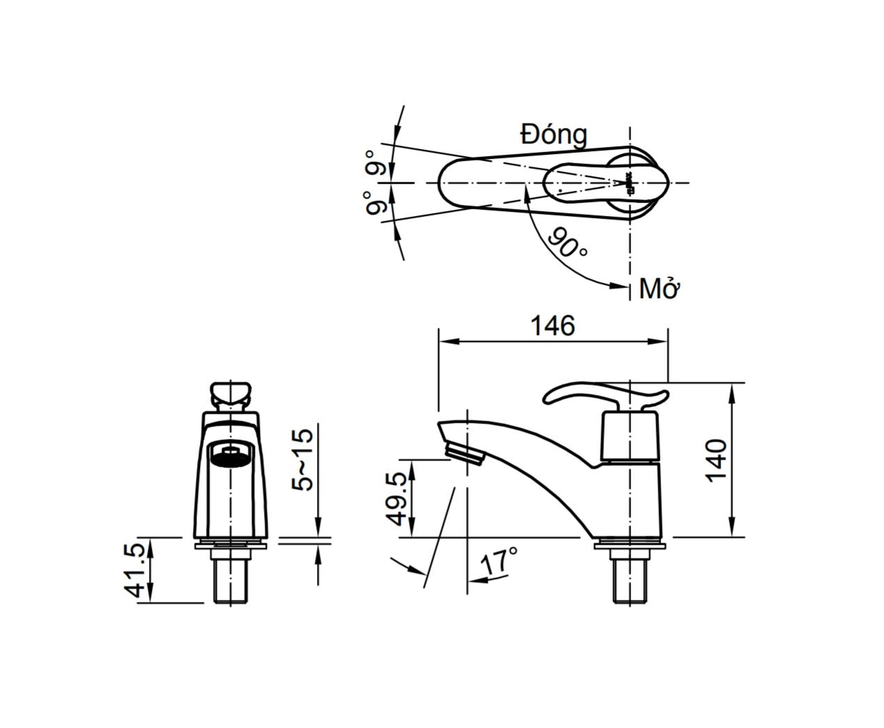 Thông số kĩ thuật vòi chậu lạnh INAX LFV-11AP