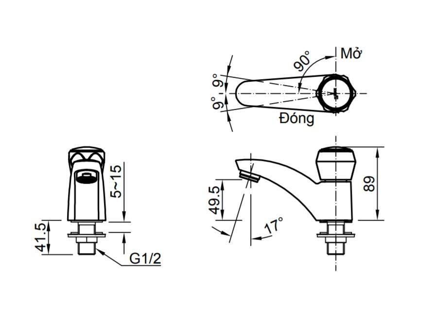 Thông số kĩ thuật vòi chậu lạnh INAX LFV-12AP