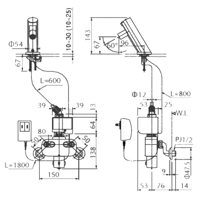 Thông số kĩ thuật vòi cảm ứng INAX AMW-90 (220V)
