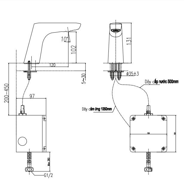 Thông số kĩ thuật vòi chậu cảm ứng INAX AMW-50B