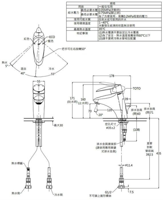 Thông số kĩ thuật vòi chậu TOTO Nhật Bản TLNW31AEF