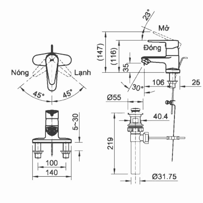 Thông số kĩ thuật Vòi chậu nóng lạnh INAX LFV-1101SP-1