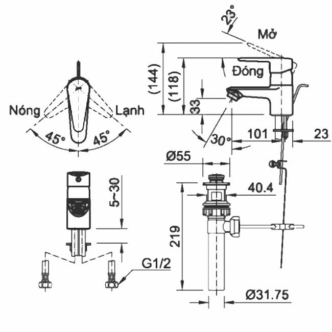 Thông số kĩ thuật vòi chậu nóng lạnh INAX LFV-1102SP-1