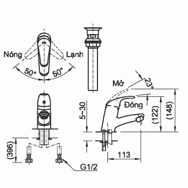 Thông số kĩ thuật vòi chậu nóng lạnh INAX LFV-1302SP