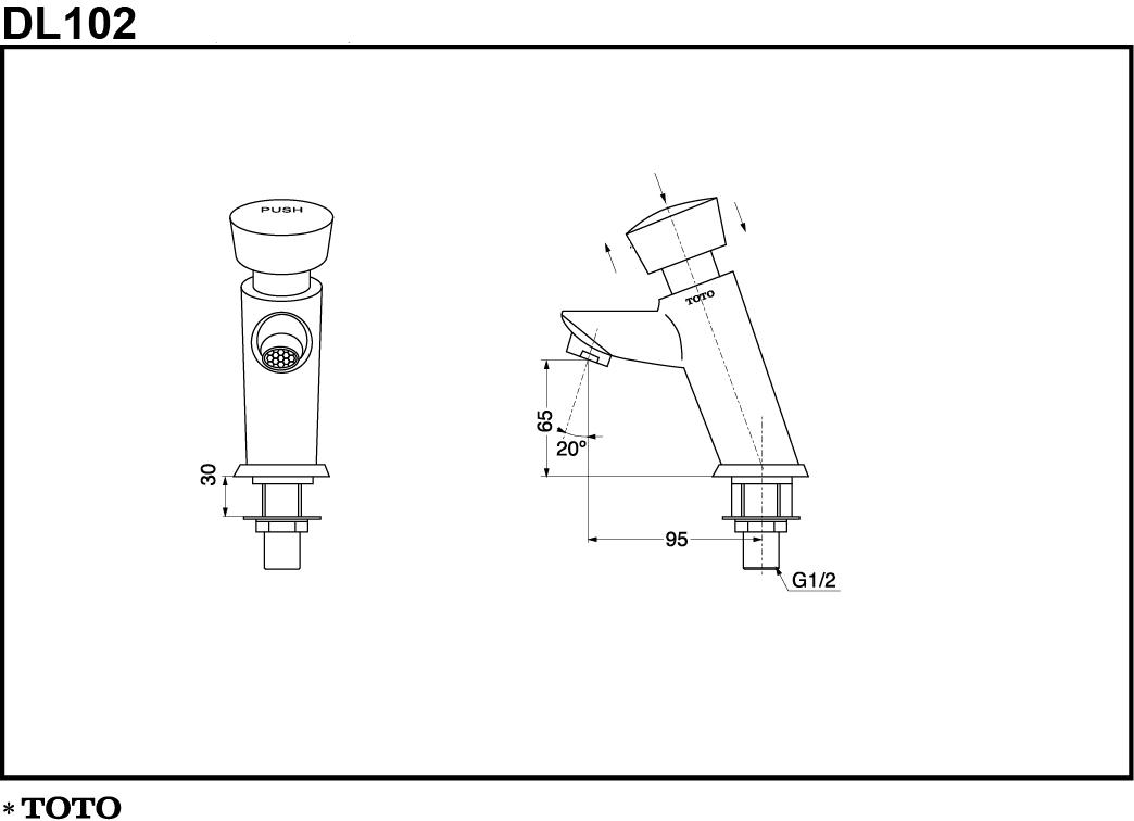 Thông số kĩ thuật vòi nước bán tự động TOTO DL102