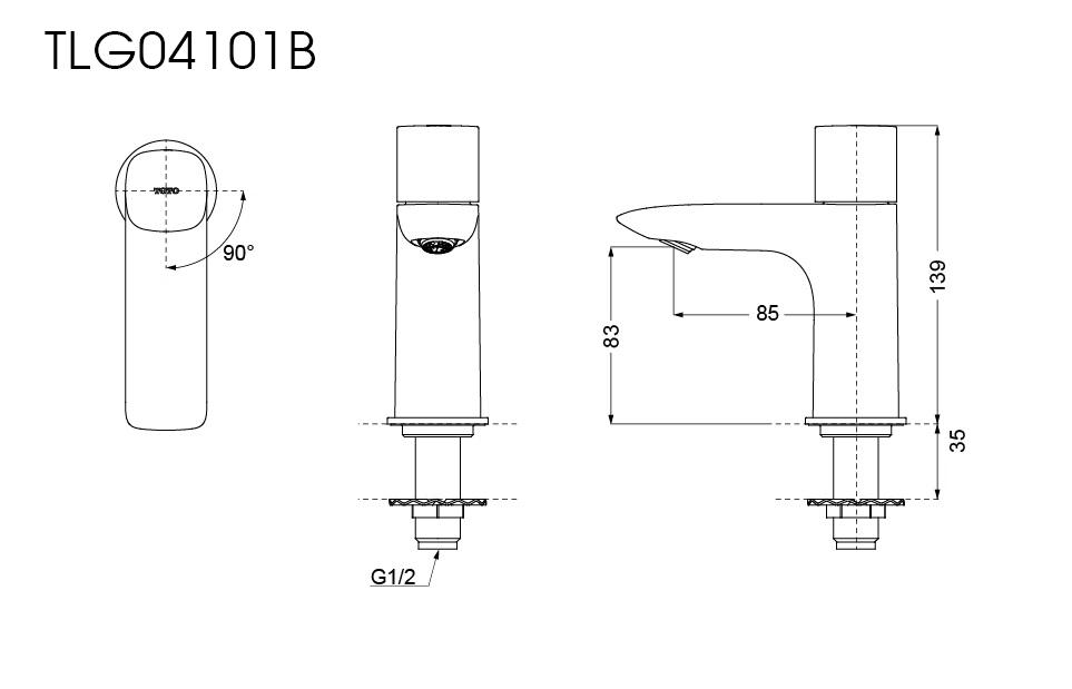 Thông số kĩ thuật Vòi chậu lạnh TOTO TLG04101B