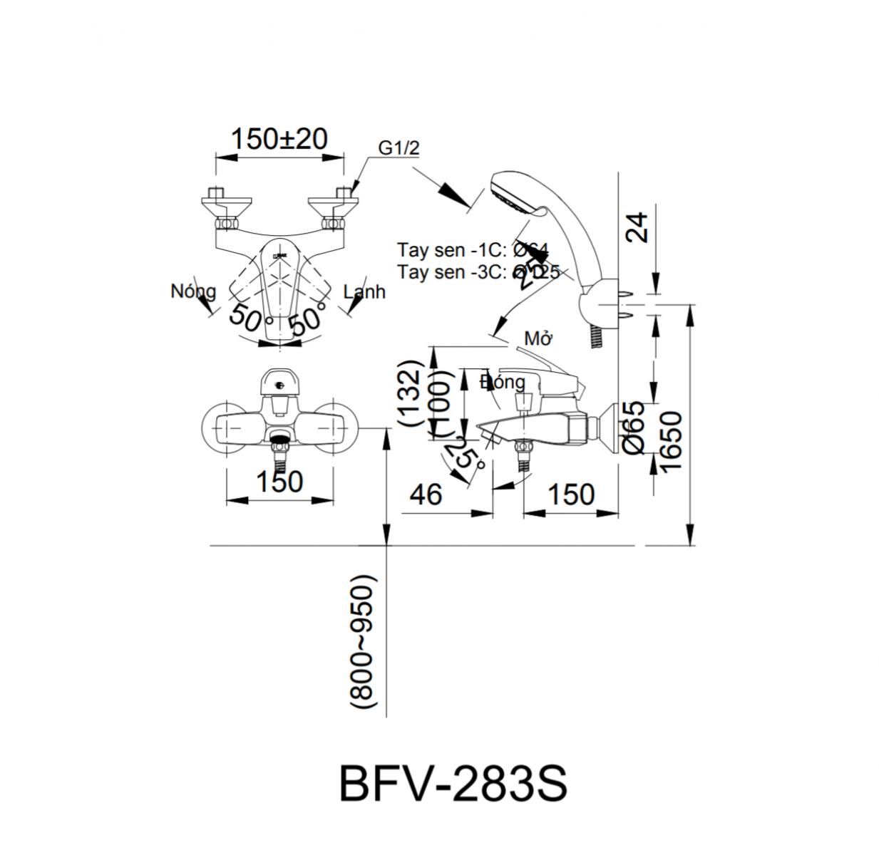Thông số kĩ thuật sen tắm INAX BFV-283S