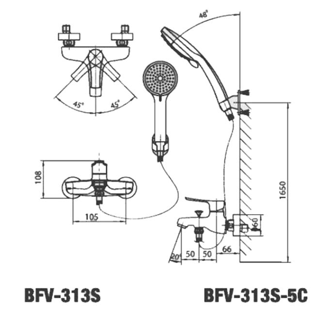 Thông số kĩ thuật vòi sen tắm nóng lạnh INAX BFV-313S-5C