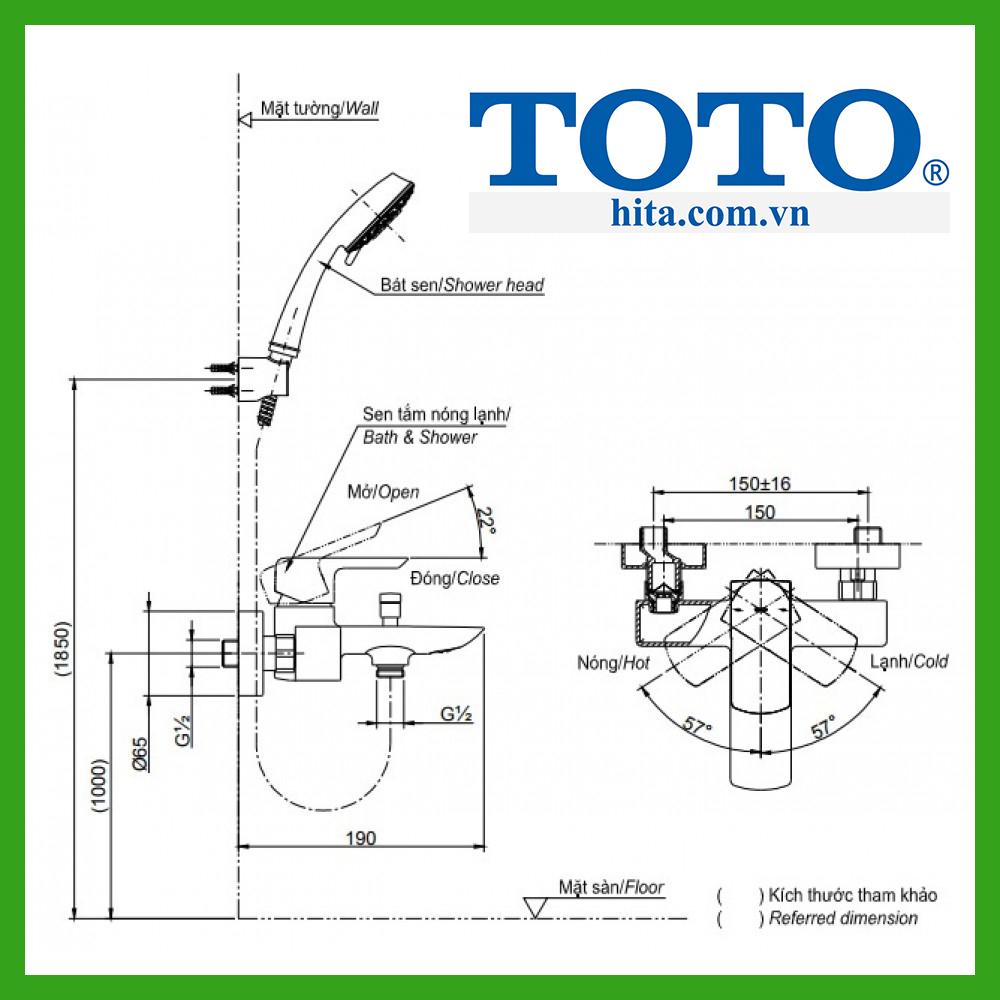 bộ sen tắm Toto TBG02302V TBW01008