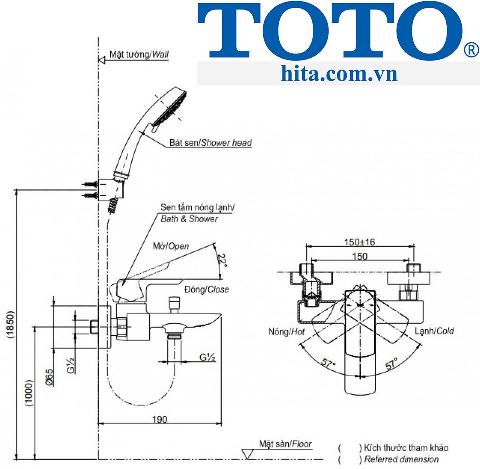 BỘ SEN TẮM Toto TBG02302V TBW03002B