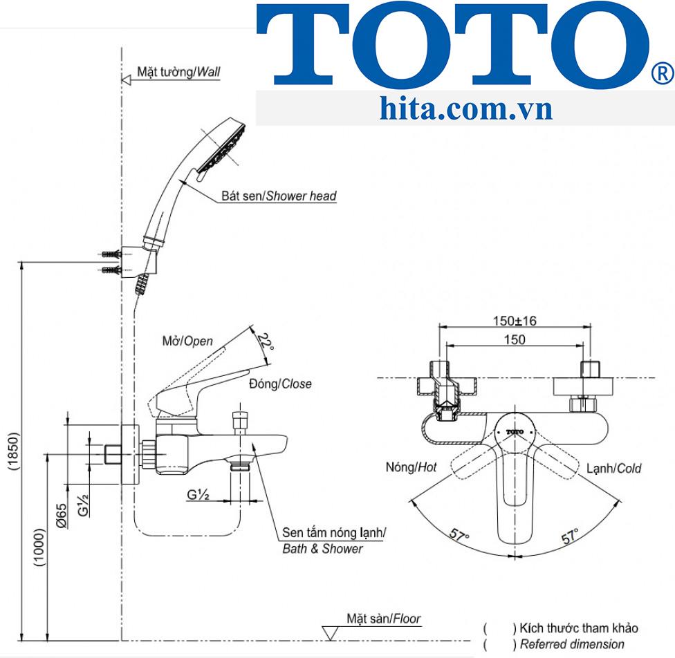 Bộ sen tắm Toto TBG04302V/TBW01008A