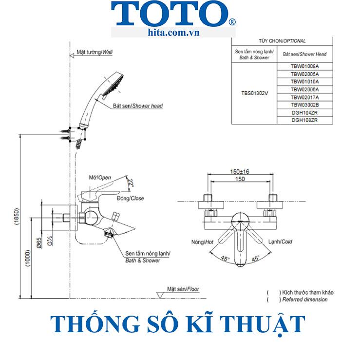 Bộ sen tắm Toto TBS01302V/TBW01008A