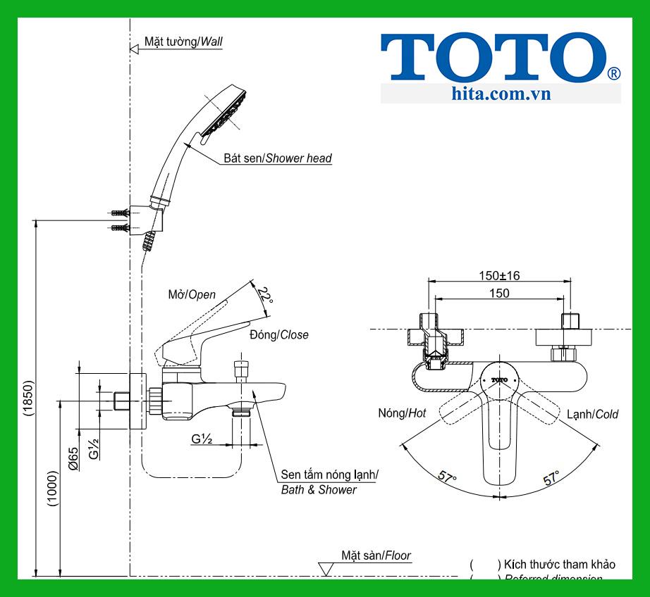 bộ sen tắm Toto TBS03302V TBW01008A