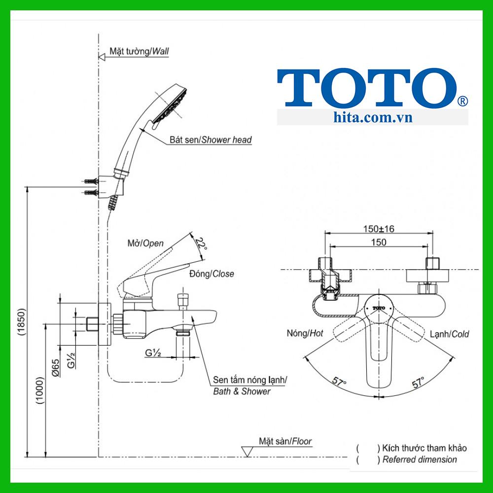 bộ sen tắm Toto TBS03302V TBW02005A