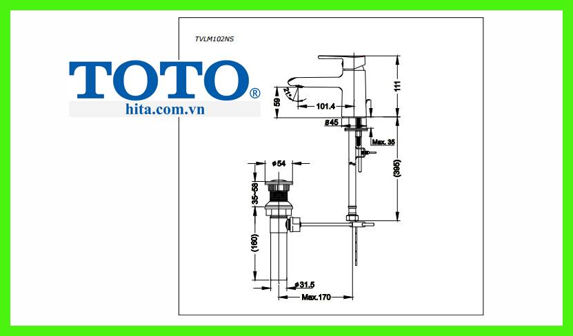 Vòi Lavabo TOTO TVLM102NS bản vẽ