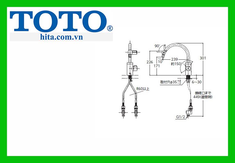 Vòi bếp rửa bát nóng lạnh Toto TKF51PN