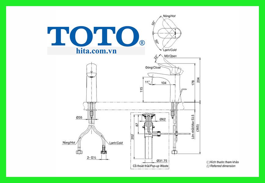 Vòi chậu Toto TLG01301V bản vẽ