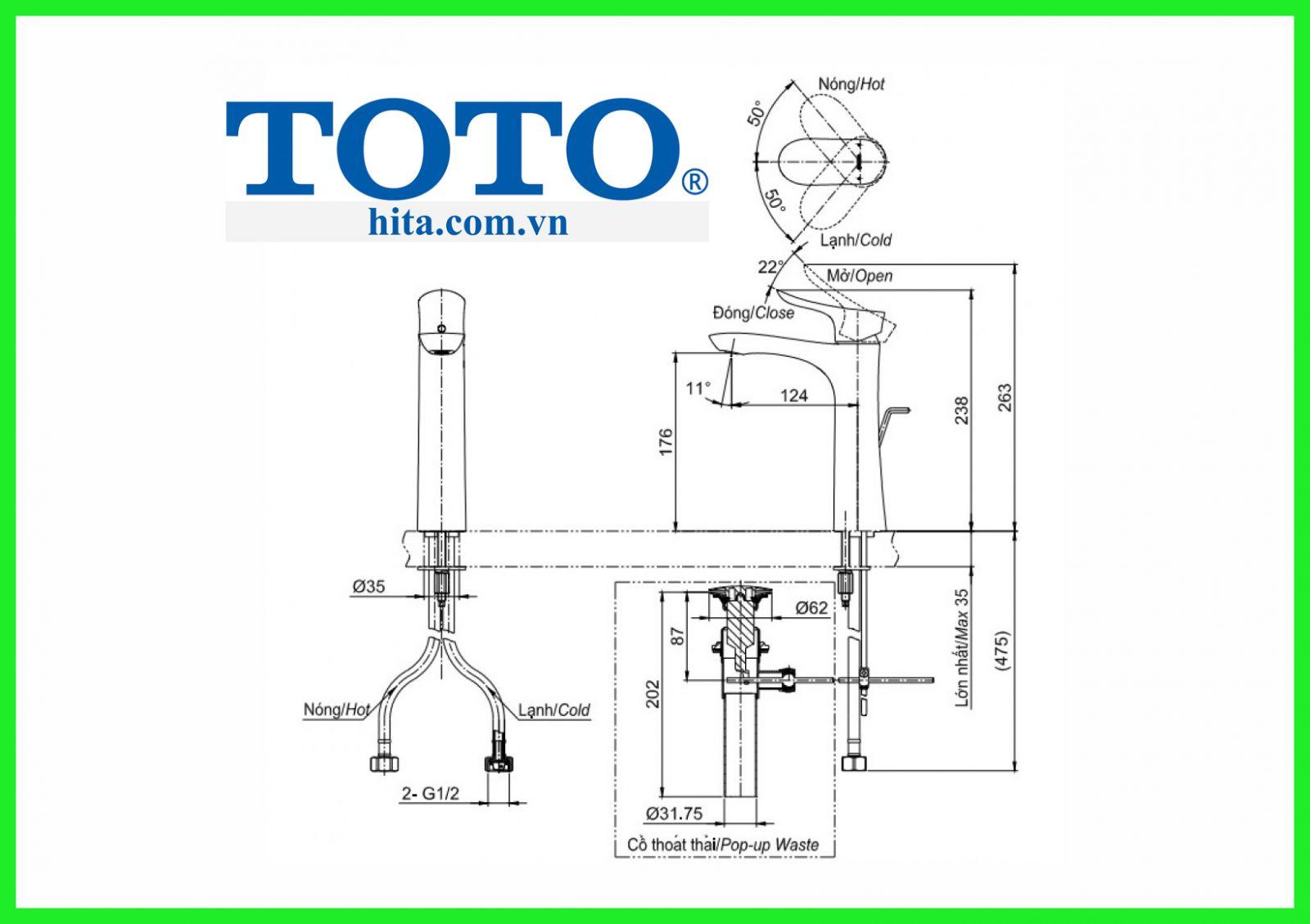 Vòi chậu Toto TLG01304V bản vẽ