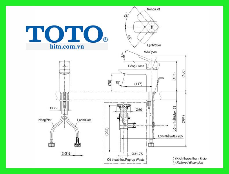 Vòi chậu Toto TLG02301V bản vẽ