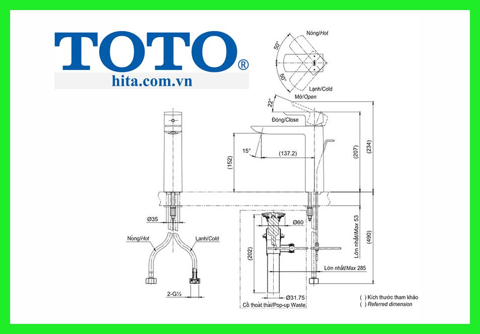 Vòi chậu Toto TLG02304V bản vẽ