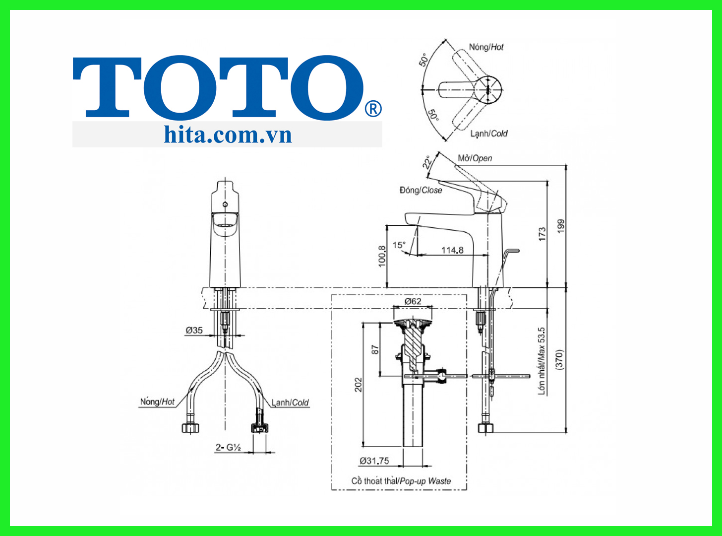 Vòi chậu Toto TLG03301V bản vẽ