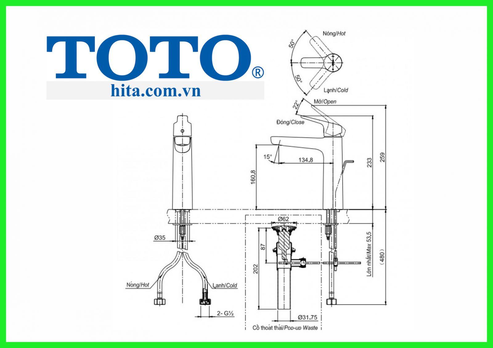Vòi chậu Toto TLG03303V bản vẽ