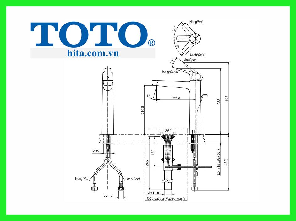 Vòi chậu Toto TLG03305V bản vẽ