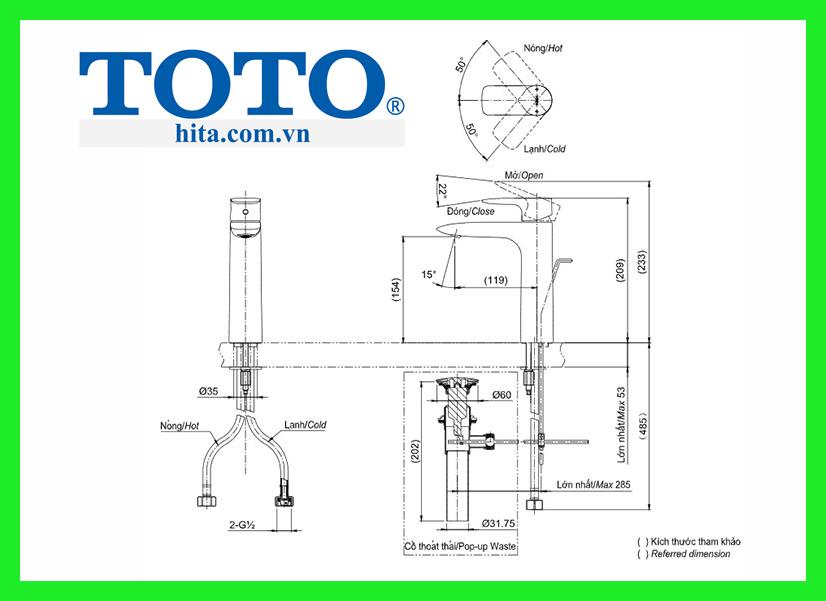 Vòi chậu Toto TLG04304V bản vẽ
