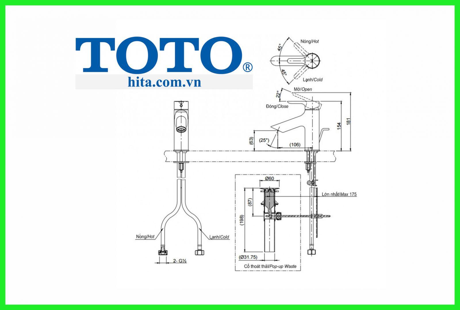 Vòi chậu Toto TLS01301V bản vẽ