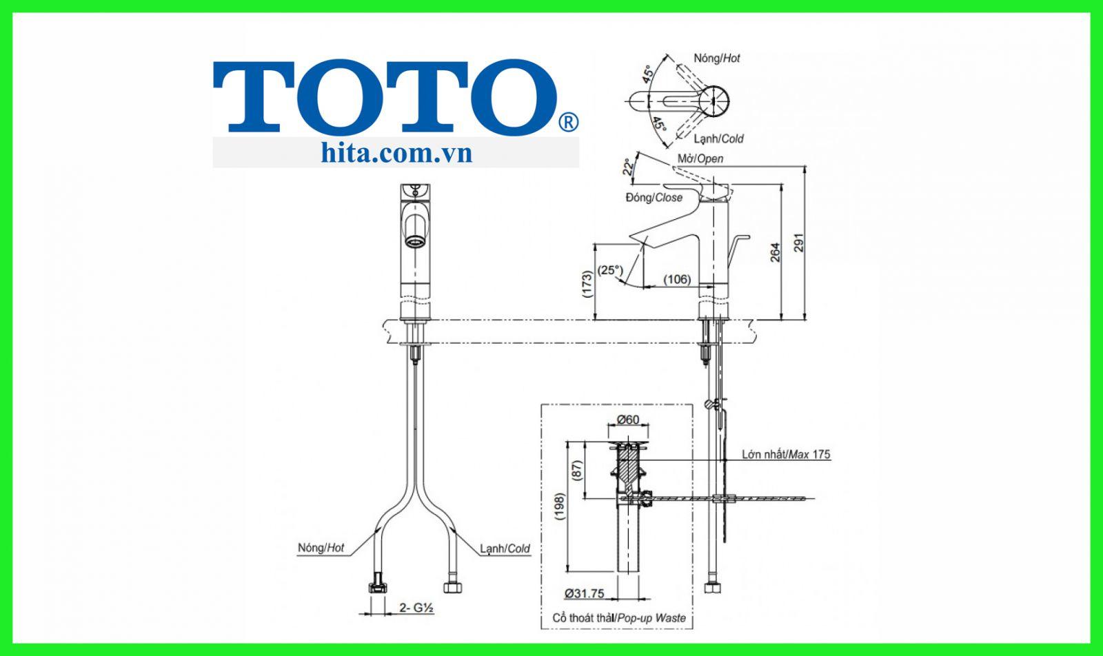 Vòi chậu Toto TLS01304V bản vẽ