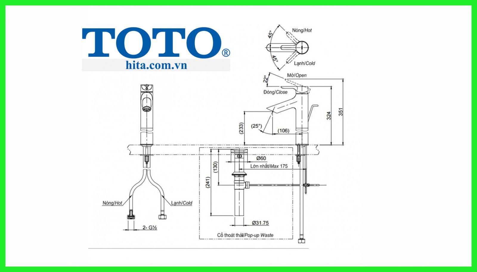 Vòi chậu Toto TLS01307V bản vẽ