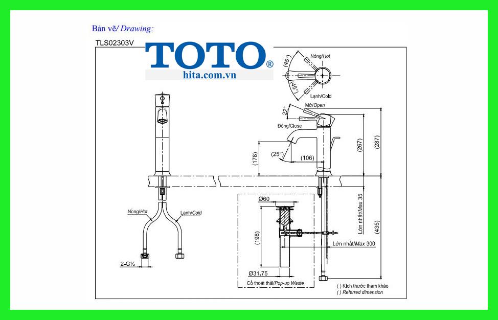 Vòi chậu Toto TLS02303V bản vẽ