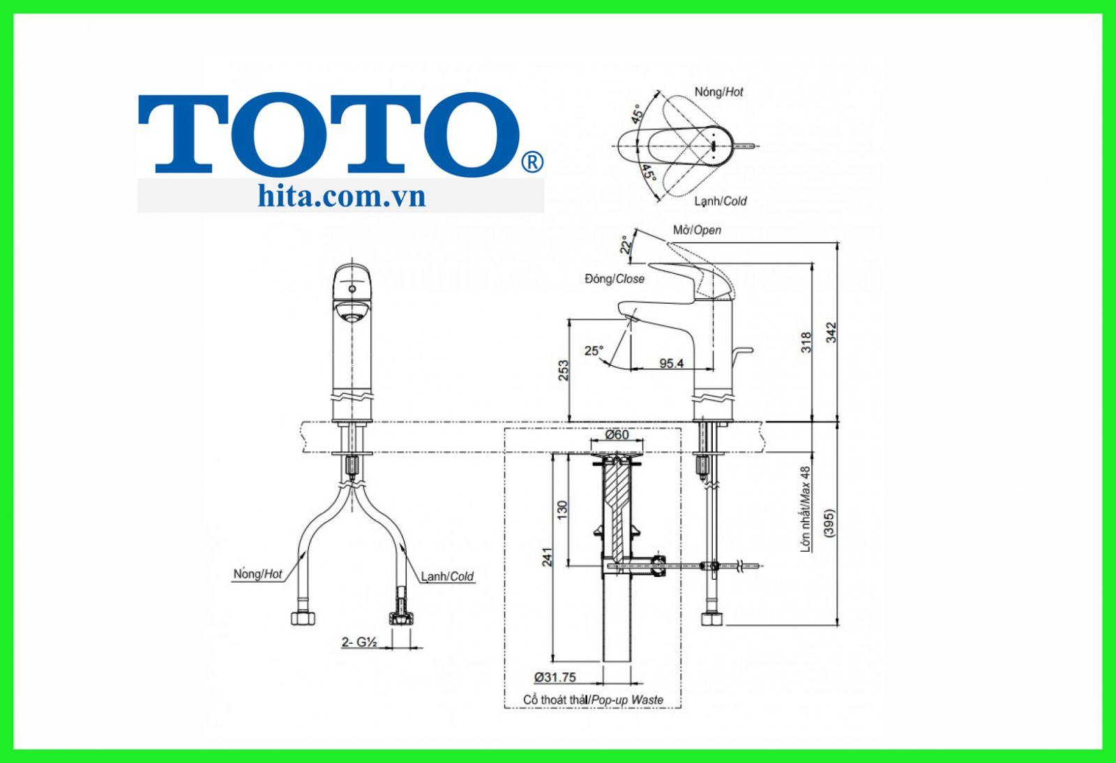 Vòi chậu Toto TLS03305V bản vẽ