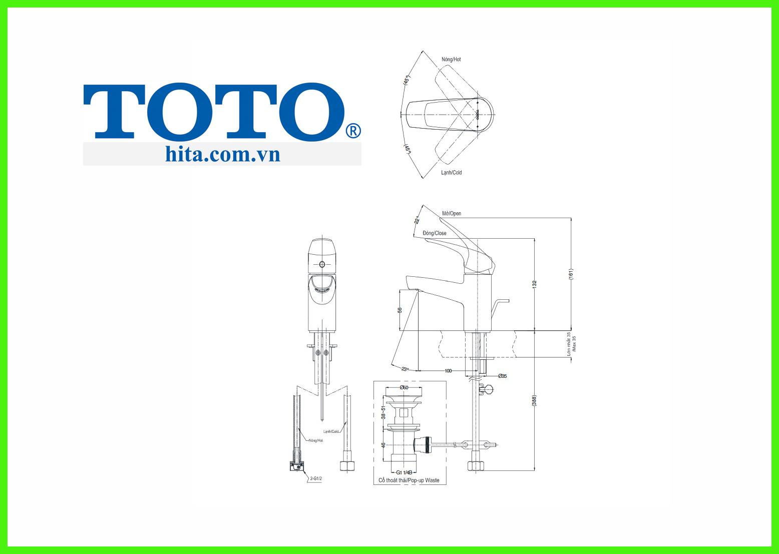 Vòi chậu Toto TVLM105CR bản vẽ 3