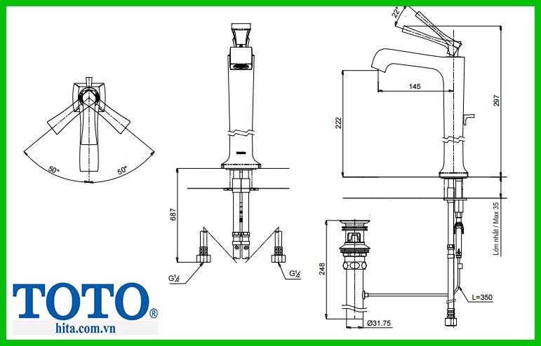 Vòi chậu nóng lạnh lavabo Toto DL367-2