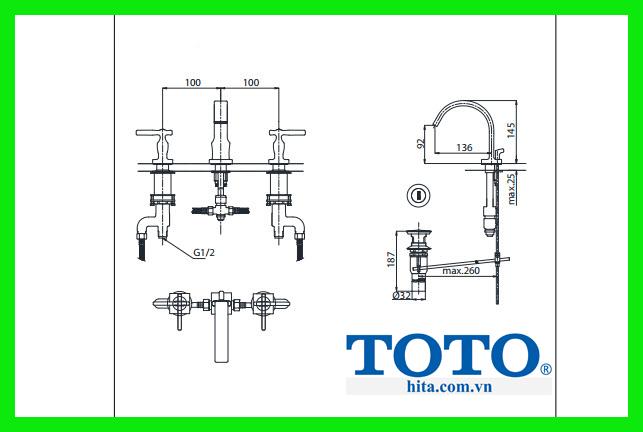 Vòi chậu rửa mặt Toto DL218 bản vẽ chi tiết sản phẩm
