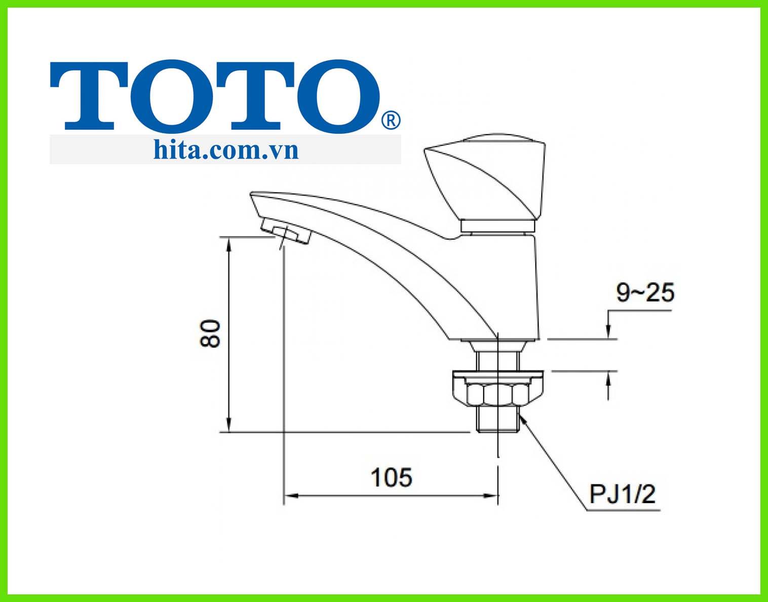 Vòi chậu rửa mặt Toto TS105B13 bản vẽ