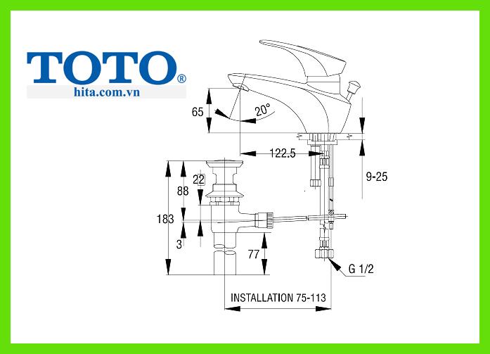 Vòi chậu rửa mặt Toto TS205A bản vẽ