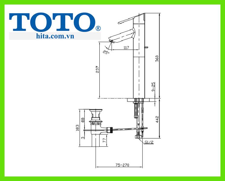 Vòi chậu rửa mặt Toto TS240AY bản vẽ
