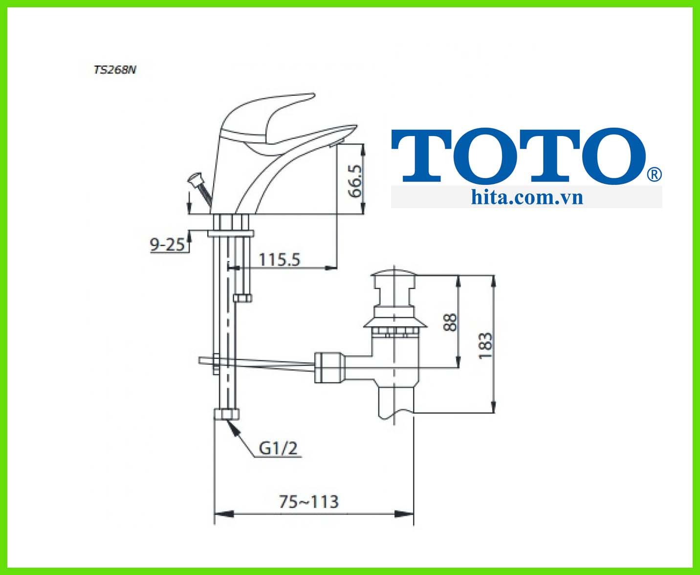 Vòi chậu rửa mặt Toto TS268N bản vẽ